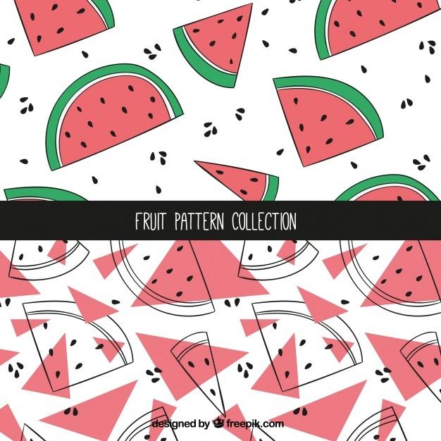 Hand-drawn watermelon patterns