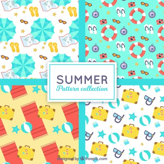 Flat collection of four patterns with summer elements