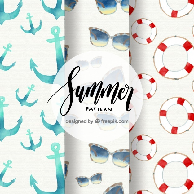 Three summer patterns with elements in watercolor style