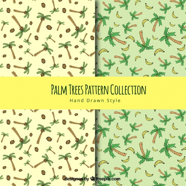 Hand drawn palm tree patterns