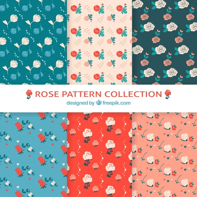 Selection of six cute rose patterns