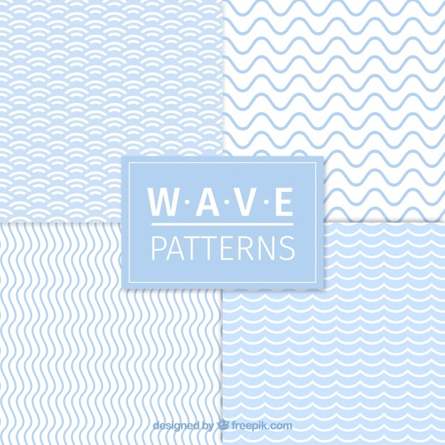 Set of four wave patterns