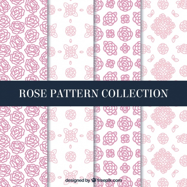 Pretty decorative patterns of hand-drawn roses