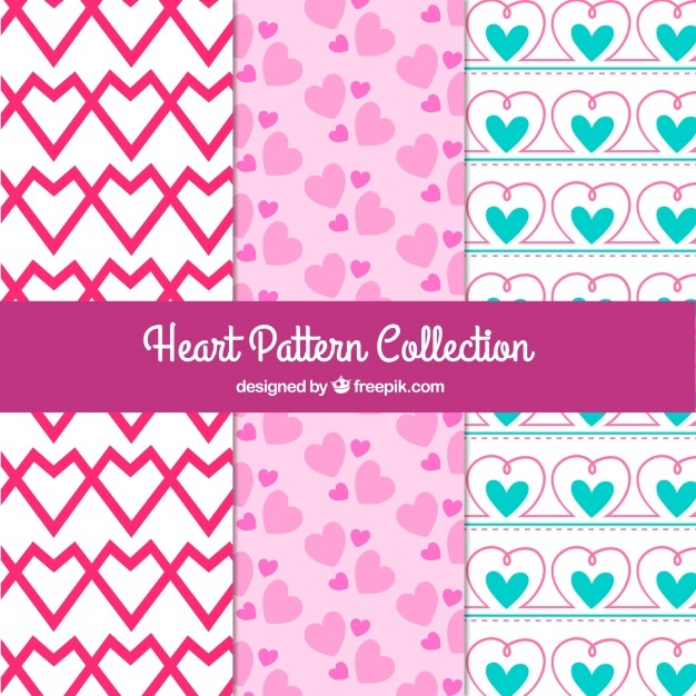 Set of decorative hearts patterns