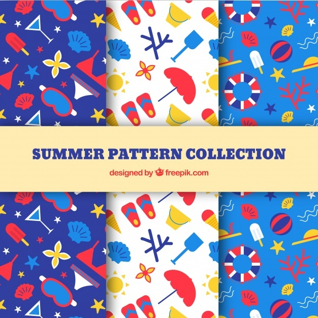 Various patterns of summer objects