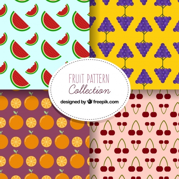 Fantastic patterns with variety of fruits