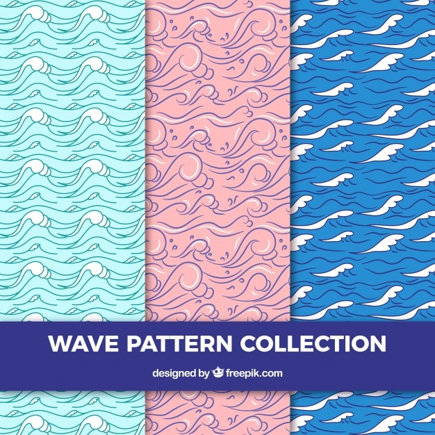 Three wave patterns in hand-drawn style