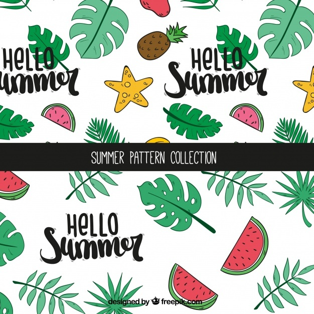 Summer patterns with fruits and palm leaves