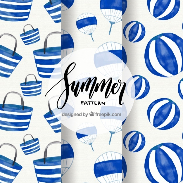 Watercolor summer elements patterns