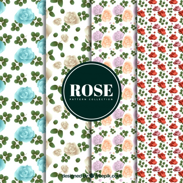 Pack of decorative roses patterns
