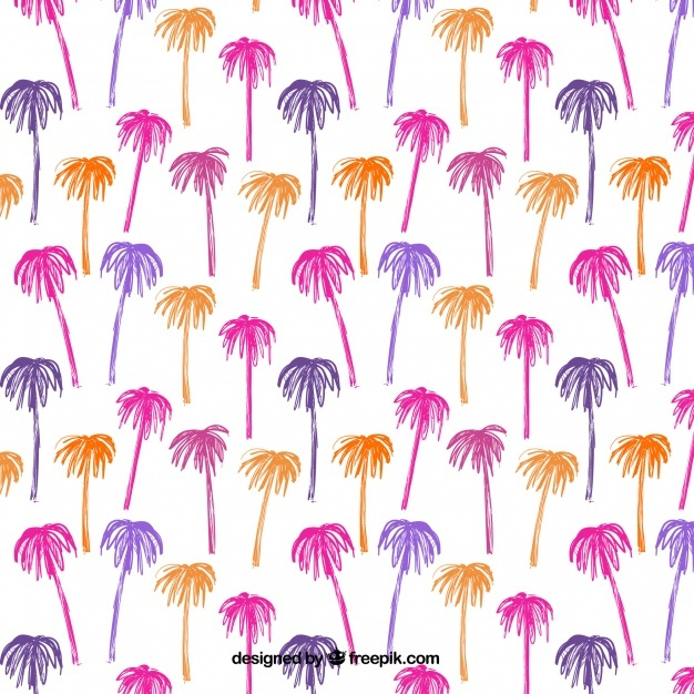 Hand-drawn pattern with colored palm trees