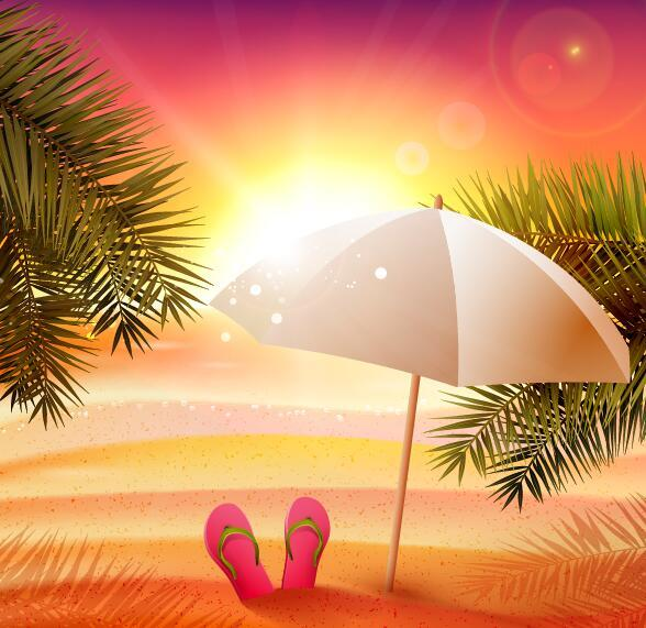 Free EPS file Sunset beach with summer background vector download