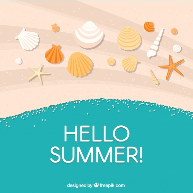 Happy summer background with shells in the sand