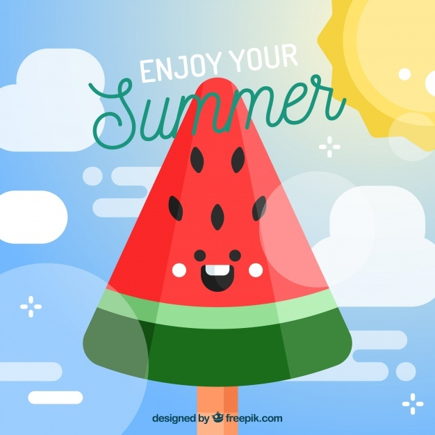 Happy watermelon background in flat design