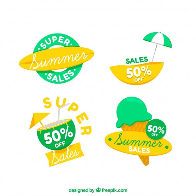 Pack of beautiful summer sale stickers