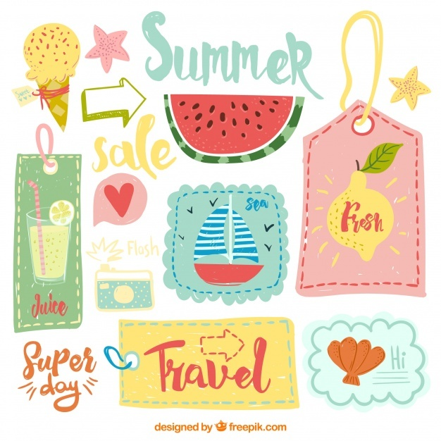 Set of hand-drawn summer retro stickers