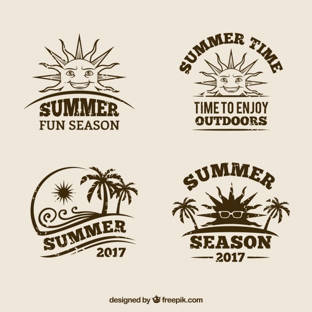 Pack of retro summer badges