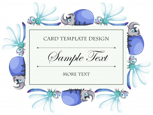 Card template with beetles and dragonflies illustration