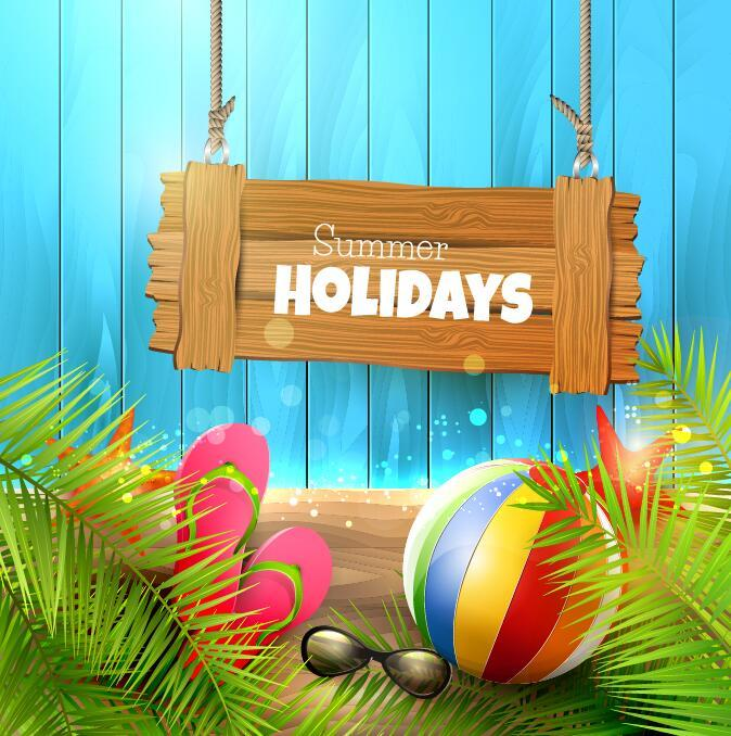 Free EPS file Summer holiday elements with blue wood background vector 02 download