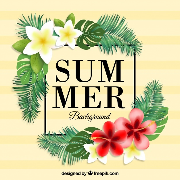 Tropical summer background with flowers