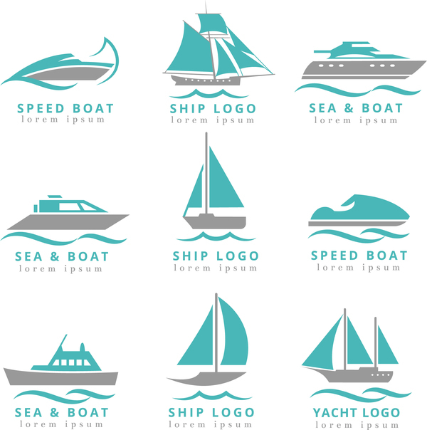 Free AI file speed boat with ship and yacht logos vector download