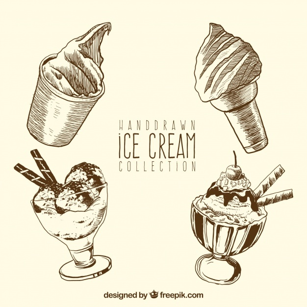 Hand-drawn ice cream collection
