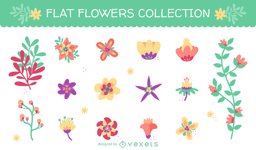 HUGE SET WITH 15 FLAT FLOWER ILLUSTRATIONS
