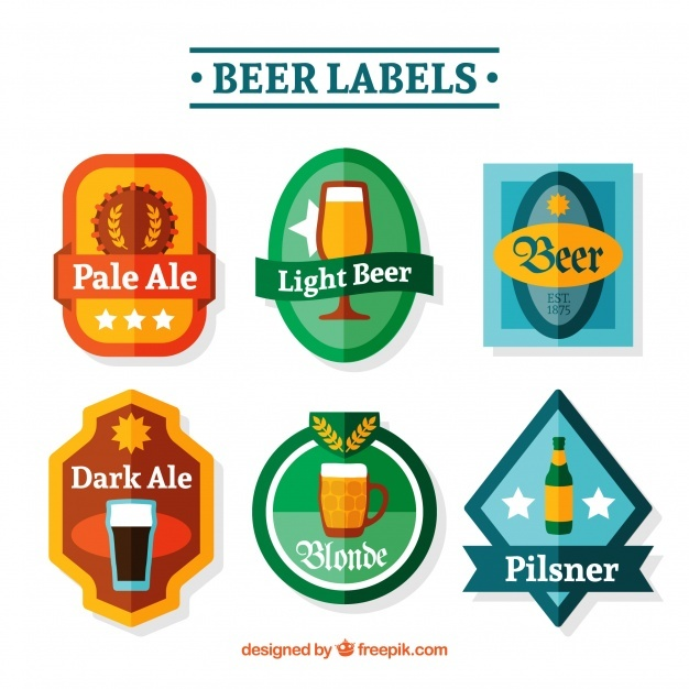 Pack of beer stickers in flat design