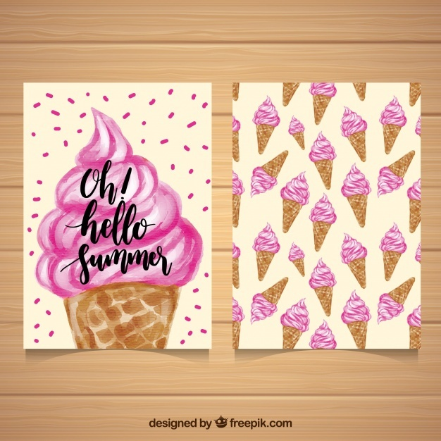 Decorative card with watercolor ice creams