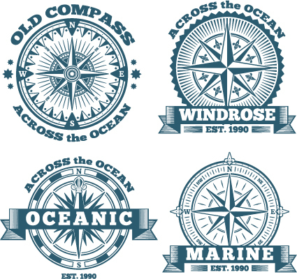 Free AI file Old compass labels vector set download