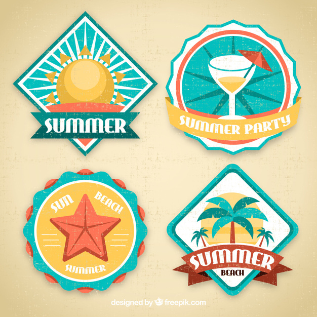 Pack of four summer decorative stickers