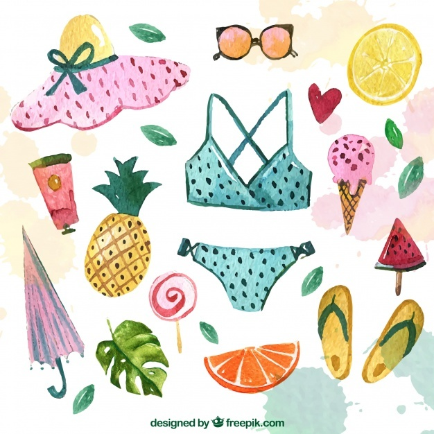 Bikini collection and watercolor summer accessories