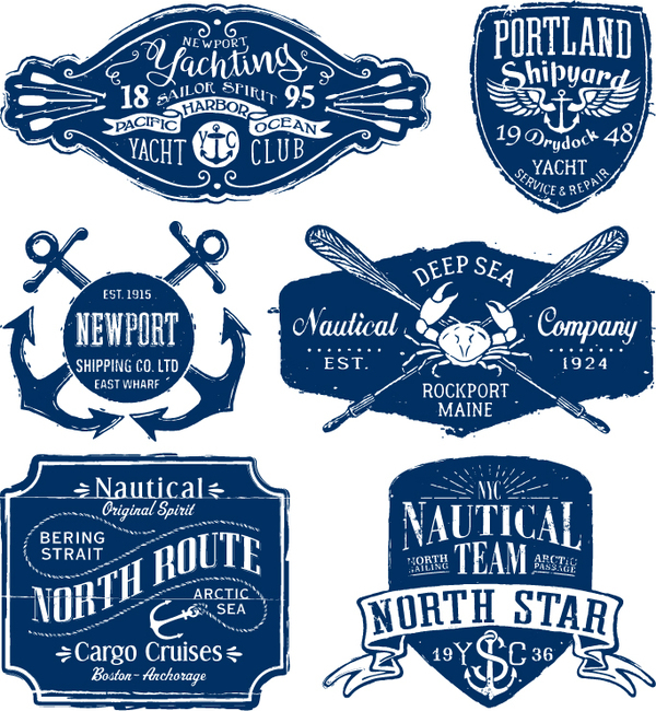 Free AI file Vintage nautical labels vector set download