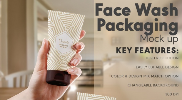 Face wash packaging mock up