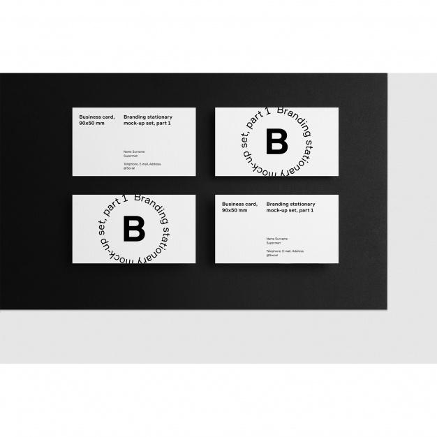 Business card mock up on black background