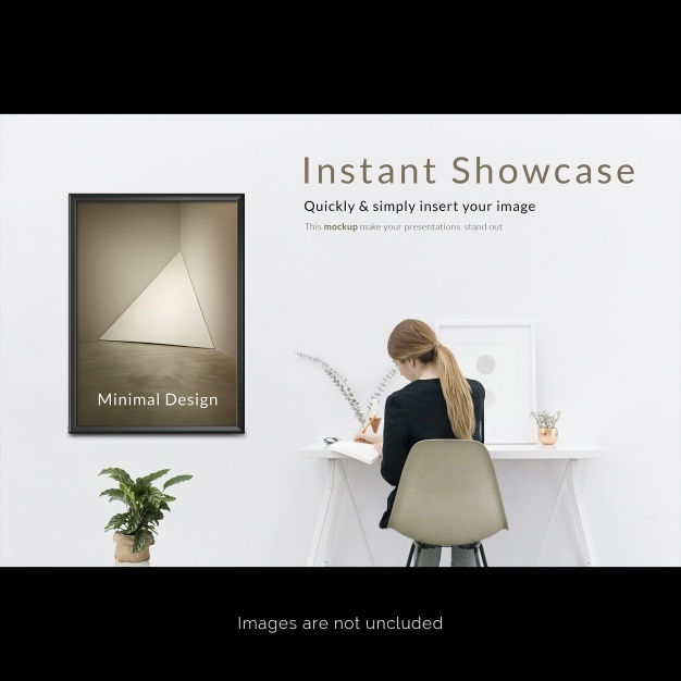 Frame on white wall mock up