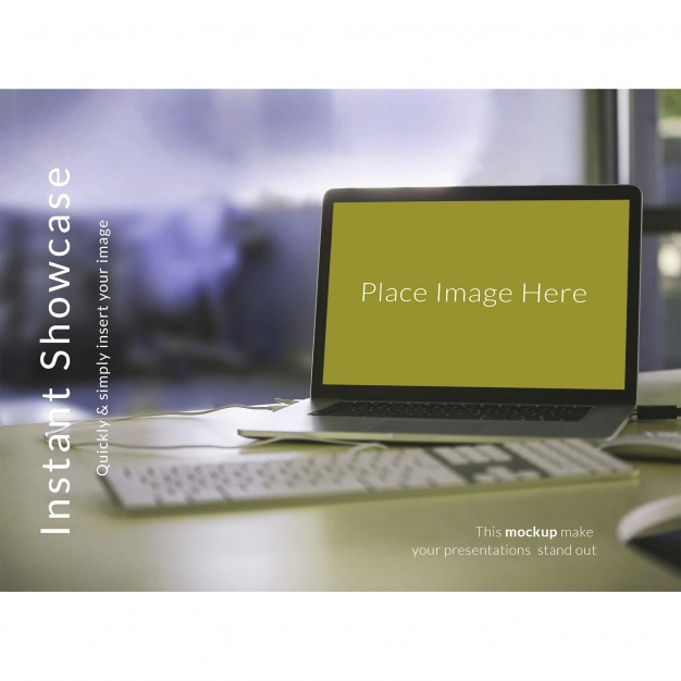 Laptop on green desktop mock up