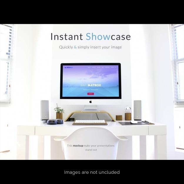 Computer on white desktop mock up