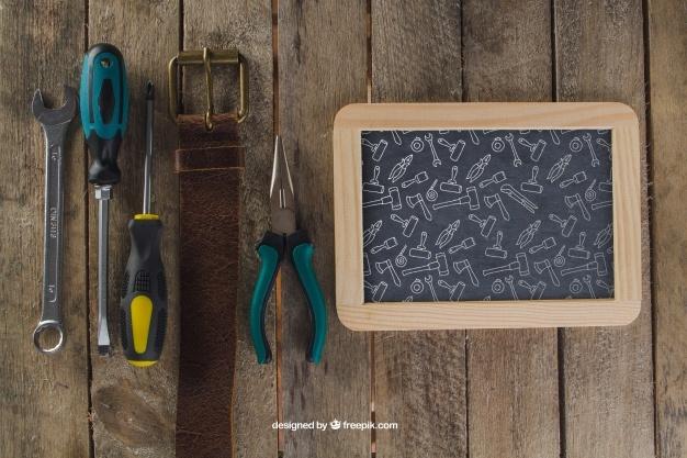 Chalkboard, belt and tools