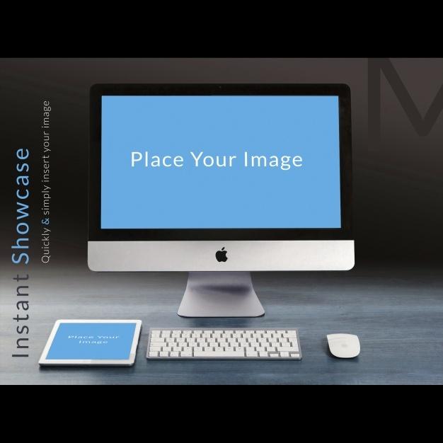 Computer on wooden desktop mock up