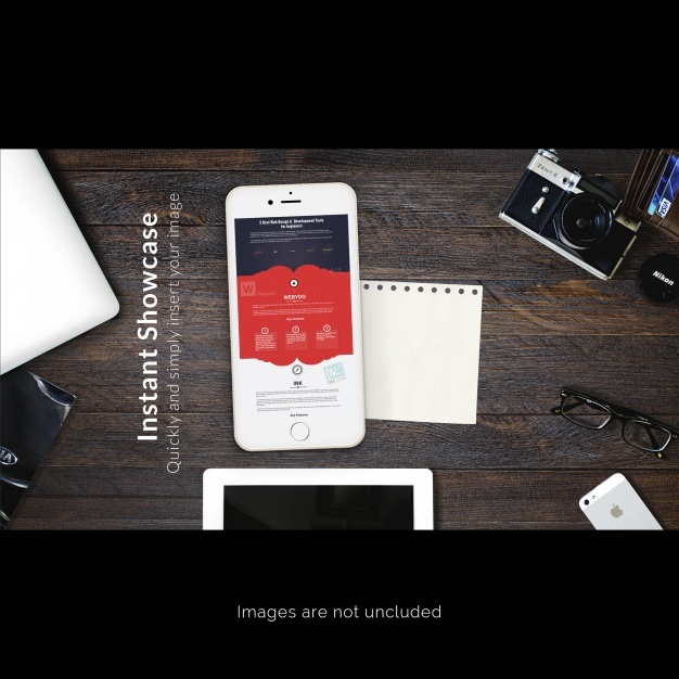 Mobile phone on desk mock up