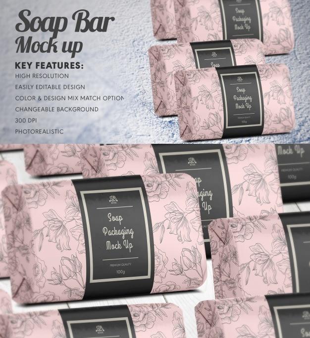 Realistic soap bar mock up