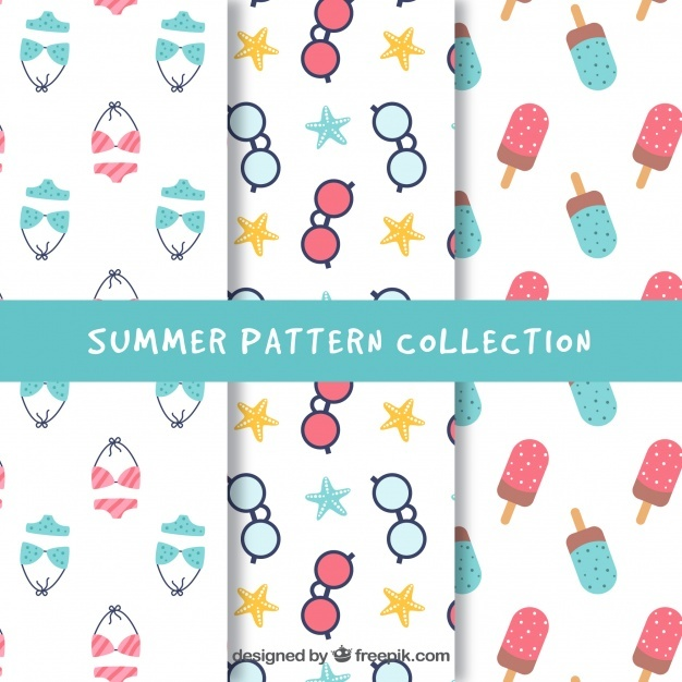 Collection of summer patterns with items in pastel colors