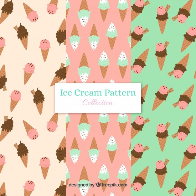Various decorative patterns with flat ice cream cones