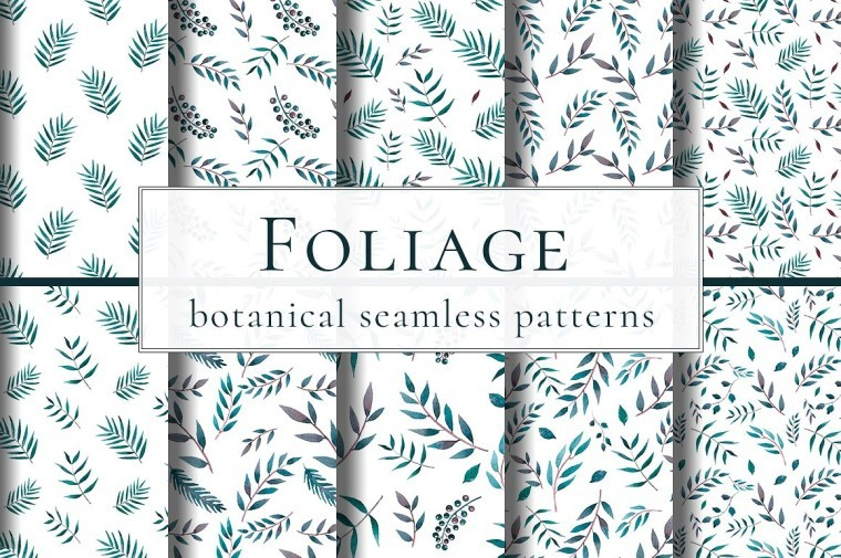 FOLIAGE WATERCOLOR SEAMLESS PATTERNS