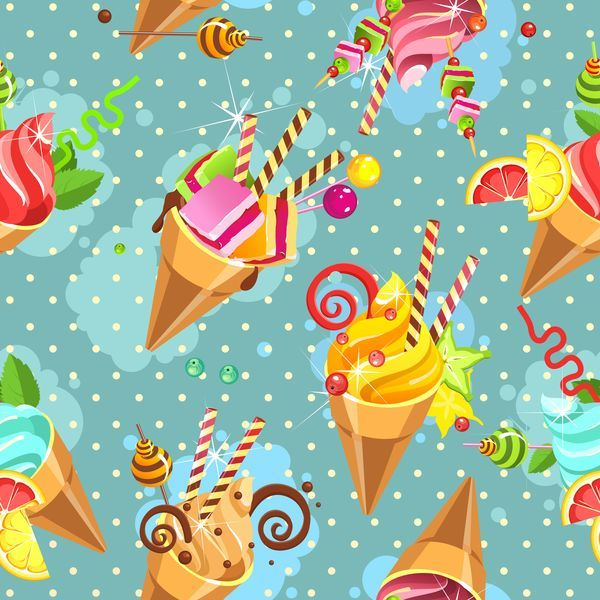 free EPS file Ice cream seamless pattern vector material 04 download