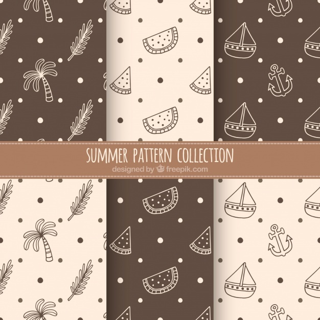 Brown and beige summer pattern collection
