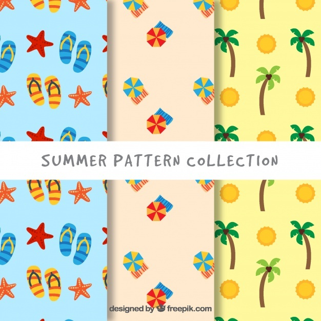 Variety of great patterns with summer objects