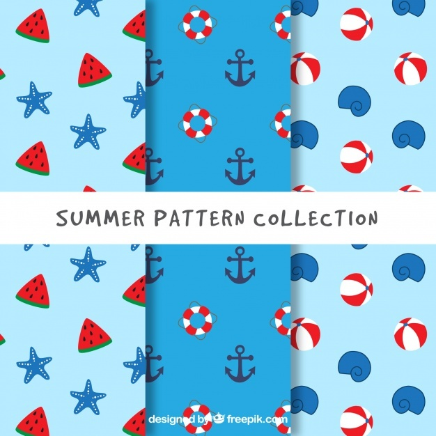Various flat patterns with great elements for summer
