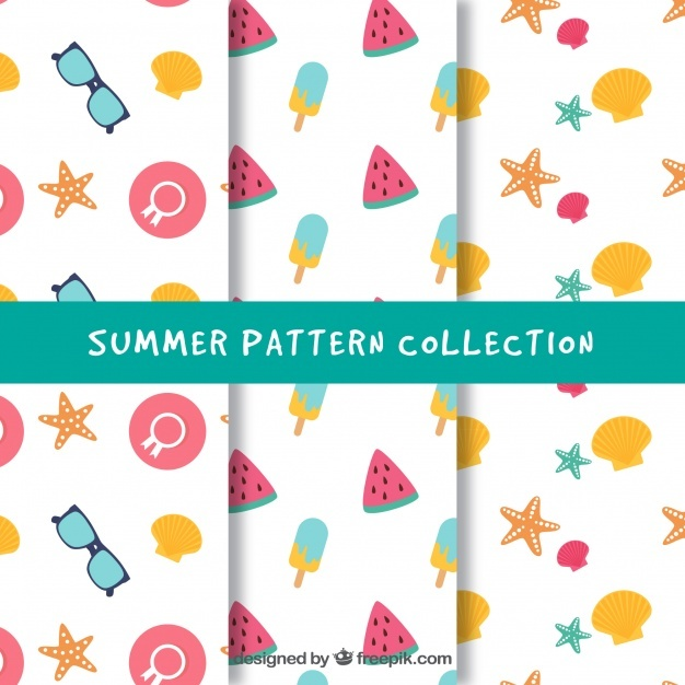 Three summer patterns with colored items in flat design
